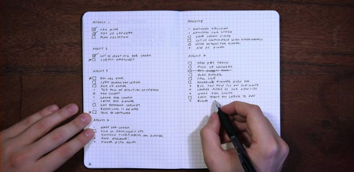 bullet journal task note calendar management without tech